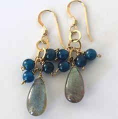 Gemstone Earrings. Labradorite, Apatite Handmade Jewelry Dangle Earrings Gifts Under 50 14kt Gold Filled Chain, Blue, Grey, Gold on Etsy, $38.00