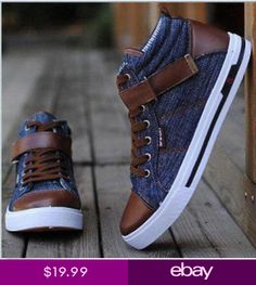 dace42d20c New Mens Leather Casual Denim Canvas Sneaker Shoes high top Fashion  Sneakers SZ Pánská Módní Obuv