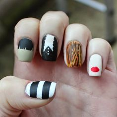 Addams Family Nail Art for Halloween