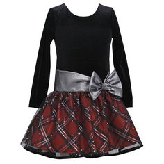 Black velvet, shimmering red plaid with silver sparkles and silver lame' bow make this an excellent Christmas dress for your girl by Bonnie Jean! Girls Fancy Dresses, Fabulous Dresses, Little Girl Dresses, Hipster Dress, Red Christmas Dress, Bonnie Jean, Plaid Dress, Holiday Dresses, Kids Outfits