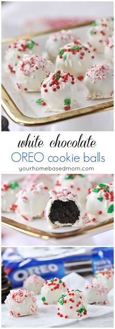 Chocolate OREO Cookie Balls White Chocolate OREO Cookie Balls will be the first thing to disappear off your holiday cookie plate! White Chocolate OREO Cookie Balls will be the first thing to disappear off your holiday cookie plate! Christmas Snacks, Christmas Cooking, Noel Christmas, Christmas Candy, Christmas Recipes, Christmas Goodies, Holiday Recipes, Köstliche Desserts, Holiday Desserts
