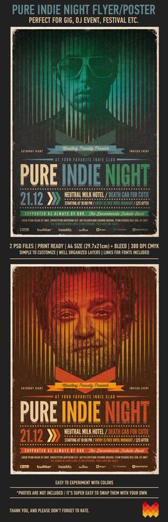 "Buy Pure Indie Night Flyer / Poster by moodboy on GraphicRiver. Pure Indie Night ""Pure Indie Night"" – This flyer/poster was designed to promote music event, such as a gig, concert, . Flyer Design, Gfx Design, Flyer And Poster Design, Graphic Design Posters, Graphic Design Illustration, Print Design, Poster Designs, Cool Typography, Typography Design"