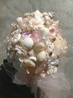 Sea Glass Bouquet Pink Seashell Beachy By BeachBasketBride 17500 BouquetMimaSea GlassSeashellsBeach WeddingsBouquetsBrides