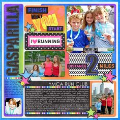 digital scrapbook layout, running, kids, daughter, YMCA, Run Club, Gasparilla, digital template, stars