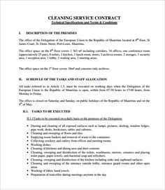 Example Of Dynasty Cleaning Contract  Cleaning Contract Agreement