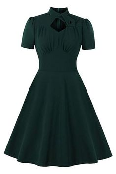#dress #fashion #style #ootd #dresses #model #outfit #beauty Black Dress Outfits, Black Midi Dress, Casual Dresses, Casual Wear, Black A Line Skirt, Fall Outfits, Dark Green Skirt, Short Green Dress, Jane Clothing
