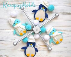 Baby mobile penguin mobile nursery mobile crib par KarapuzMobile