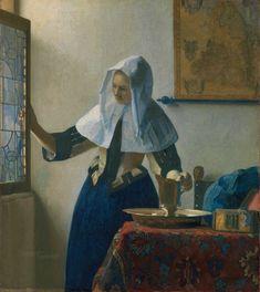 Jan Vermeer (Johannes Vermeer), Delft 1632 - 1675 Junge Frau mit einem Wasserkrug / Young Woman with a Water Pitcher (ca. 1662 - Metropolitan Museum of Art, New York, USA Johannes Vermeer, Rembrandt, Metropolitan Museum, Painting Prints, Fine Art Prints, Vermeer Paintings, Art Beat, Dutch Golden Age, Camille Pissarro