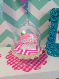 1 cake slice with clear cake stand with inside by QueenEmmaDesigns