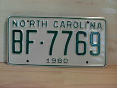 1980+North+Carolina+Rat+Rod+License+Plate+Tag+NC+#BF-7769+YOM