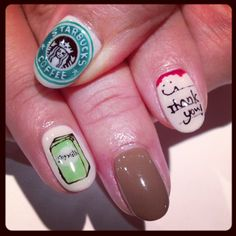 Starbucks art nails #avarice #art #kayo #design #nails #nailart #nailsalon #Starbucks (NailSalon AVARICE)