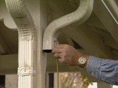 Get ready for the rainy season by installing new gutters. In this DIY lesson, learn how to install gutters to promote proper drainage around your property. Home Improvement Projects, Home Projects, Rain Gutter Installation, Diy Gutters, How To Install Gutters, Home Fix, Patio Makeover, Home Upgrades, Home Repairs