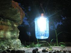 Mason jar solar lights - so easy and brilliant!  The lights are at Dollar Tree right now and I have plenty of jars.