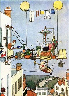 W. Heath Robinson-Contraption for the Lazy Father That balloon clothesline actually makes sense, come to think of it.