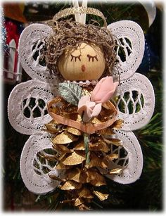 Small Pine Cone Angel Ornament - Battenburg Lace Wings