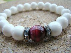 Bead Bracelet, Gemstone Bracelet, White, Beaded Bracelet, Stretch Bracelet, Bead Bracelet Womens, Summer Trends, Summer Jewelry, Beaded by BeJeweledByCandi on Etsy