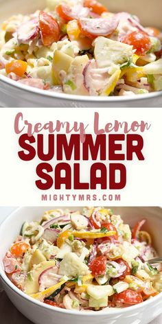 Creamy Lemon Summer Salad - This fresh and herby salad recipe is chock full of summer garden vegetables including yellow squash, zucchini, grape tomatoes, cucumbers, green onions, red onions, radishes, and hearts of palm. The bright and creamy lemon dressing is flavored with mint, basil and parley. A delicious vegetable side dish to go with summer dinner. You'll love this easy and refreshing recipe for using up your summer veggies and herbs! A perfect compliment to a grilled main dish. Side Dish Recipes, Easy Dinner Recipes, Easy Meals, Party Recipes, Summer Salad Recipes, Summer Salads, Summer Dishes, Summer Food, Yellow Squash And Zucchini
