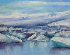 ICELAND Art  Jokulsarlon Glacial Lagoon Original Pastel Painting Karen Margulis 9.5x13