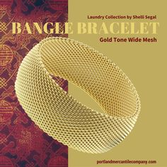 Gold-Tone Wide Mesh Bangle Bracelet from the Laundry Boutique Collection by Shelli Segal