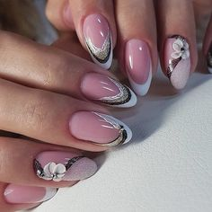 Nail Polish Trends, Nail Design & Art Ideas and Manicure Elegant Nail Designs, Elegant Nails, Nail Art Designs, Design Art, Beautiful Nail Art, Gorgeous Nails, Pretty Nails, French Nail Art, French Tip Nails
