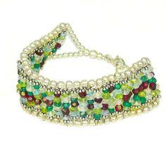 "Franki Baker Peridot, Garnet, Aquamarine and Silver Bead Bracelet (7"") - Fashion Jewelry"