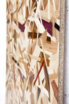 OSB (marqueterie) 2013. Placage de bois nobles contrecollés sur bois aggloméré, 200x90 cm. Plus