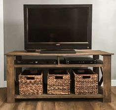 Tv Table Stand, Tv Stand Console, Diy Tv Stand, Tv Stand With Led Lights, Simple Tv Stand, Barn Conversion Interiors, Tv Stand Plans, Plastic Curtains, Pallet Tv Stands