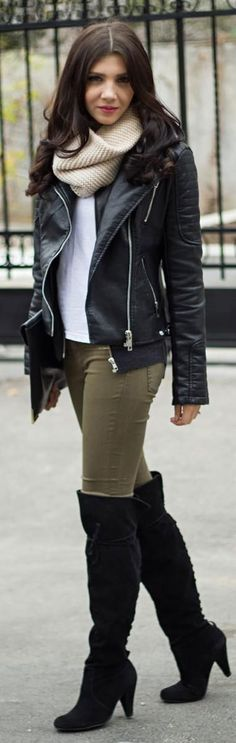 how to wear boots 2014 | 20 Style Tips On How To Wear Over-The-Knee Boots (wear them however you want to I just like this outfit)