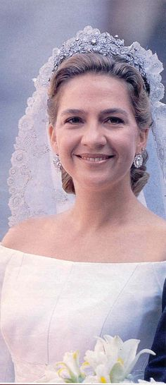 Spanish Royals | Infanta Cristina on her wedding day wearing the Floral Tiara given to her mother Queen Sofia by the people of Spain on her own wedding day