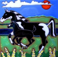 Hand Painted Ceramic Tile Horse and Baby by PacificBlueTile