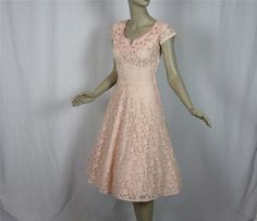 40s pink lace awesome dress!