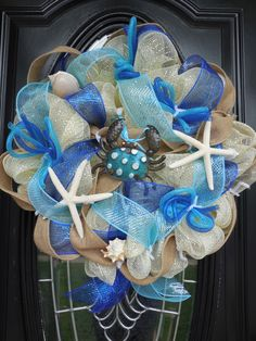 Summer/Beach Theme Deco Mesh Wreath