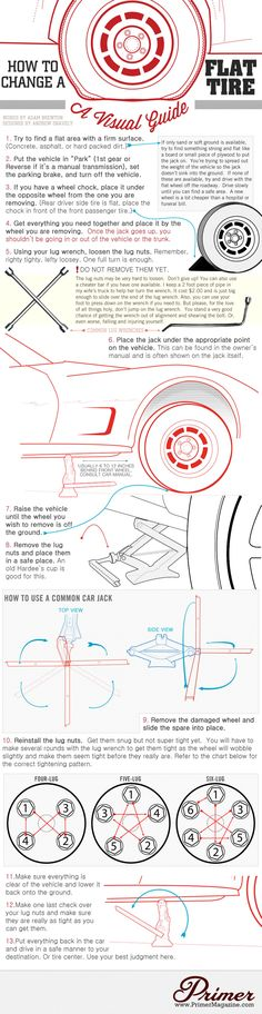 How to Change a Flat Tire on a Car Infographic. Topic: vehicle, auto, automobile, roadside emergency, spare tire, mechanic, driver.