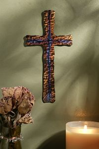 7ft Jeweled Steel Narrow Wall Cross Special Order