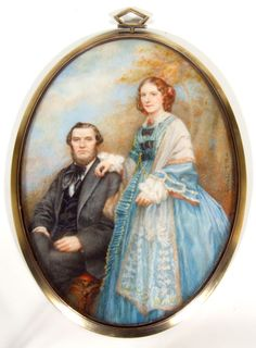 Miniature Portrait On Ivory Of Aa Victorian Couple - Signed Gertrude L. Pew  c.1876-1900's