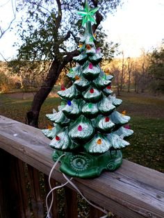 1970s 16 Green ceramic light up Christmas Tree by DeliciasCastle