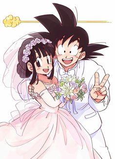 Goku and Chi Chi; Dragon Ball and Dragon Ball Z Dragon Ball Gt, Goku E Chichi, Anime Goku, Goku Manga, Milk Y Goku, Couples Anime, Manga Dragon, Goku Dragon, Son Goku