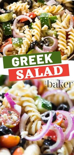 The perfect make-ahead side dish with a refreshing taste! This Greek Salad is a combination of pasta, olives, tomatoes, red onions, cucumbers, and feta with a homemade vinaigrette dressing! This easy and healthy salad is perfect for potlucks and dinners!