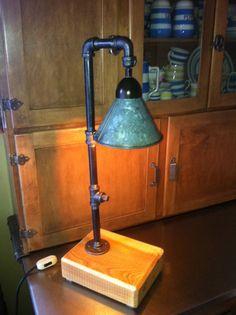 Industrial Steampunk Art Style Desk Lamp Pipe by CopperUmbrella,