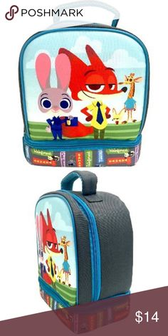 """Zootopia Insulated Lunch Bag box school Kids Insulated lunch box from target. Perfect for lunches but my kids used these as """"suitcases"""" to tote their toys around, in the car, on road trips etc. used only for that purpose. In good used condition. Totally Unisex, marked one as girls and one as boys just for visibility. Zootopia Other"""