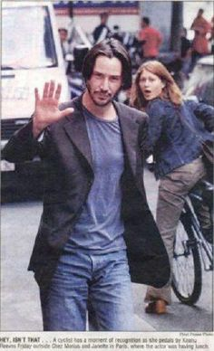 WHY DO WE LOVE KEANU? Because we know darn well that we would ALL react like the girl on the bike... (chicfoo) keanu