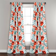 Bungalow Rose Bryonhall Poppy Garden Floral Room Darkening Thermal Rod Pocket Curtain Panels Size per Panel: W x L, Curtain Color: Multi Tab Curtains, Curtain Room, Rod Pocket Curtains, Thermal Curtains, Room Darkening Curtains, Blackout Curtains, Bedroom Curtains, Bold Curtains, White Curtains