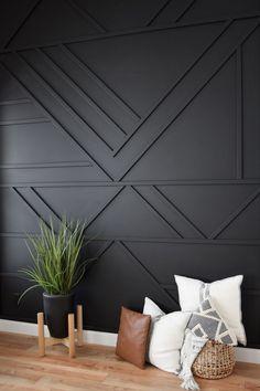 Cheap Home Decor, Diy Home Decor, Decoration Crafts, Black Accent Walls, Bedroom Accent Walls, Black Walls, Accent Walls In Living Room, Wood Accent Walls, Feature Wall Living Room
