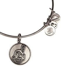 Alex and Ani Cleveland Indians Cap Logo Expandable Wire Bangle Russian Silver
