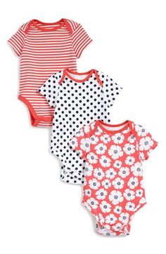 Offspring Short Sleeve Cotton Bodysuits (3-Pack) (Baby Girls) available at #Nordstrom