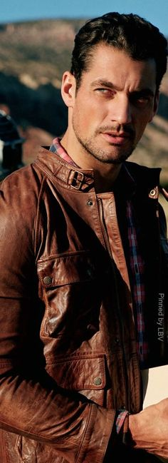 David Gandy - leather jacket - men's fashion style