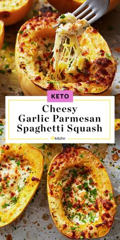 Cheesy Garlic Parmesan Spaghetti Squash Is the Ultimate Keto Side - - Strands of spaghetti squash are tossed with a garlicky three-cheese mixture for a satisfying keto-friendly side dish. Garlic Parmesan Spaghetti Squash, Stuffed Spaghetti Squash, Best Spaghetti Squash Recipes, Cheesy Spaghetti Squash, Spagetti Squash Spagetti, Stuffed Squash, Healthy Recipes, Salads, Gourmet