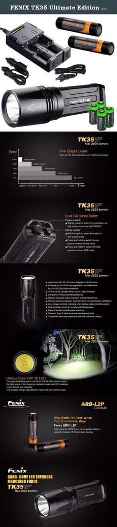 FENIX TK35 Ultimate Edition 2000 Lumen 2015 version LED Tactical Flashlight with 2 x Fenix ARB-L2P Li-ion rechargeable batteries, 4 X EdisonBright CR123A Lithium batteries, smart battery charger, in-car Charger adapter, Holster & Lanyard bundle. Product Description This is the new 2015 Edition of the Fenix TK35 Ultimate Edt. This upgraded flashlight integrates exquisite craftsmanship and high performance. With the latest Cree XHP 50 LED, it delivers a maximum output of 2000 Lumens, a…