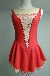 Sk8 Gr8 Designs, Fiddler on the Roof custom figure skating dress, delicate floral detail and a striking red and peach combination. www.sk8gr8designs.com