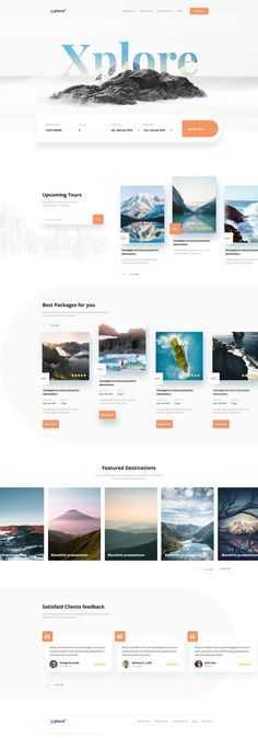 by Arifur Rahman Tushar - Landing Page - Ideas of Landing Page - Xplore Travel agency landing page Travel Agency Website, Travel Website Design, Tourism Website, Website Design Layout, Web Layout, Travel Design, Layout Design, Design Innovation, Best Travel Websites